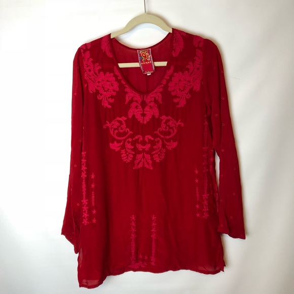 a93b98bb022b2 Johnny Was Tops - Johnny Was red embroidered tunic top size xs